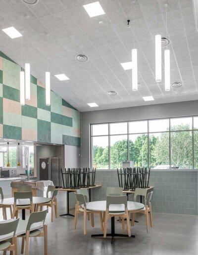 Troldtekt: Troldtekt akustikplattor i vitt och specialfärger - Sylteskolan, Trollhättan